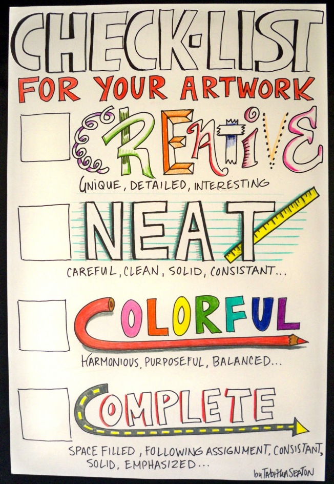 checklist for your artwork by tabitha seaton