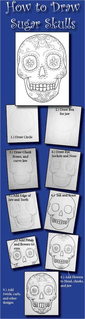 From http://bestkidscrafts.com/how-to-draw-sugar-skulls-tutorial/