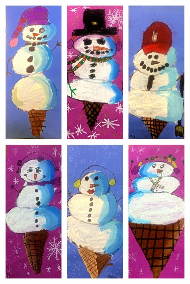 Inspiration for our winter snow cone project from another wonderful art teacher!