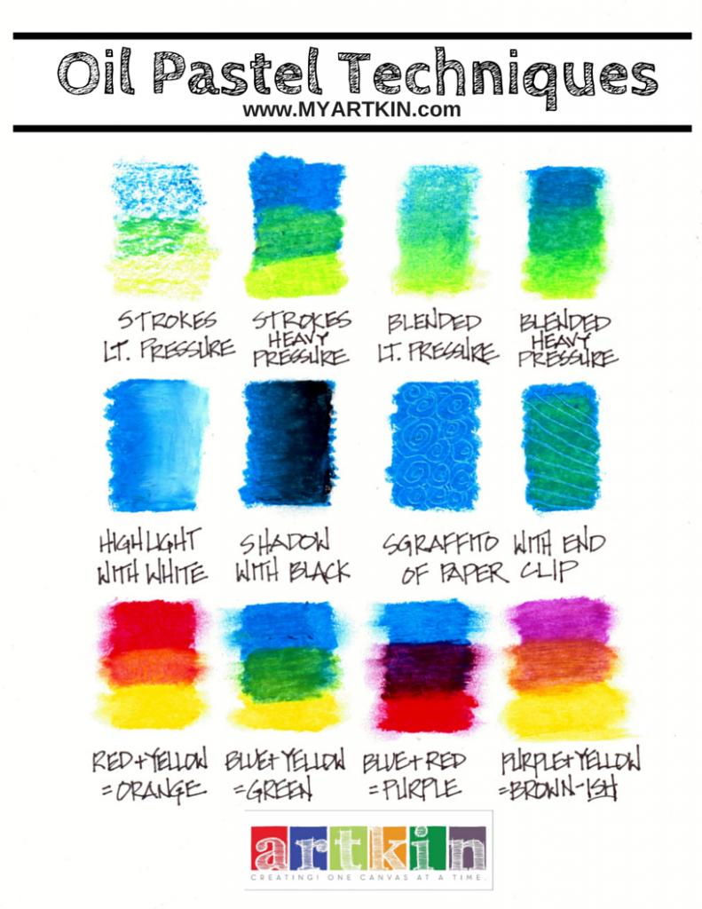 Oil-Pastel-Technique-Chart-791×1024 | Menlo Park's Art Studio