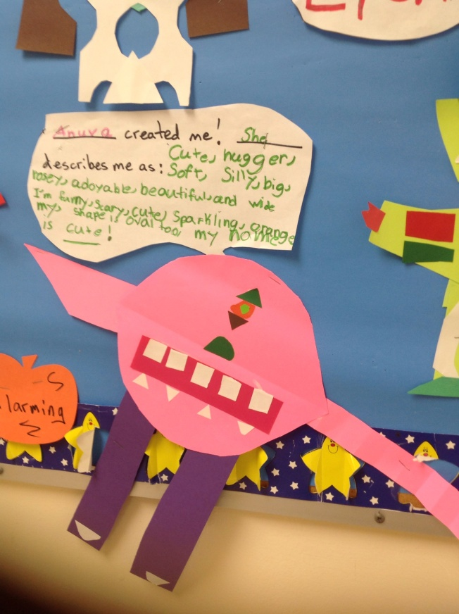 Silly Shape Creatures used as inspiration for First Grade Classwork