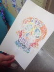 Printing our skull (Calaveras) with water based ink on foam plate then pressed onto damp watercolor paper